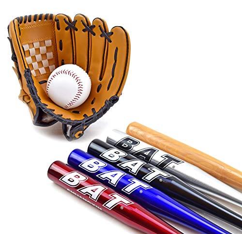 TruWare Baseball Set Baseballschläger + Handschuh + Ball Einsteiger-Set (Rot, 30 Zoll)