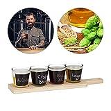 Relaxdays Beer Tasting Set, 4 Gläser für Bierprobe, beschreibbares Verkostungsglas, je 200 ml, Servierbrett Holz, natur