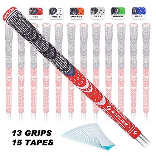SAPLIZE Golfgriffe (13 Griffe + 15 verbesserte Bänder), Gummi, Golfschlägergriffe, Standard/mittlere Größe, 6 Farben zur Auswahl, Unisex, Red, 13 Grips with Tape, Standard