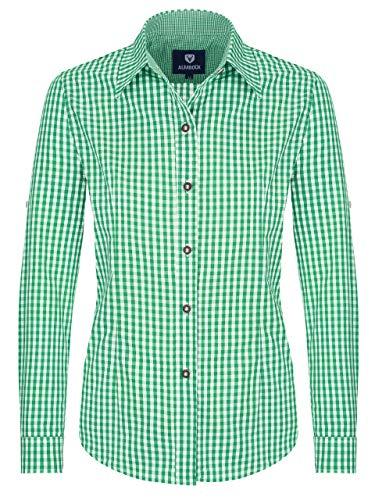 ALMBOCK Trachtenbluse Damen langarm | Karierte Bluse mint-grün kariert aus 100% Baumwolle | Festliche Blusen in Größe 34-46