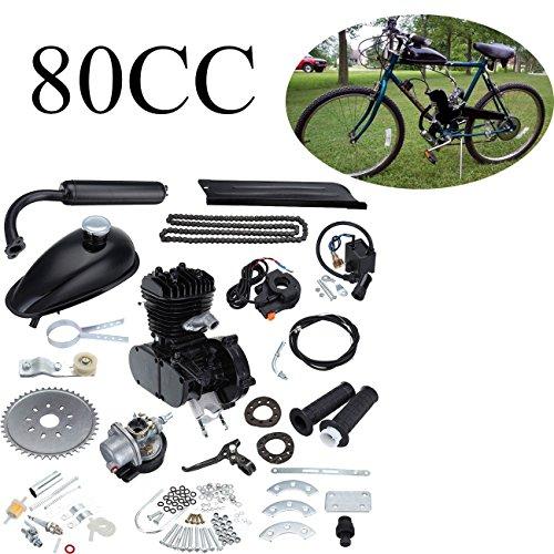 Ambienceo 80cc 2 temps cycle de pédale essence gaz moteur kit de conversion de vélo pour vélo motorisé noir