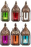 Orientalische Laternen 6 Set Laterne Meena bunt 16cm | 6x Orientalisches Windlicht aus Metall & Glas in 6 Farben | Marokkanische Glaslaterne für draußen als Gartenlaterne, Innen als Tischlaterne