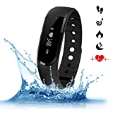 Heart Rate Monitor, Surwin Wirless Fitness Tracker with Wrist Heart Rate, Bluetooth 4.0 Activity Wristband Smart Wristband with Multi-Functions for Android (above 4.4) and IOS (above 7.1)Phone (Black)