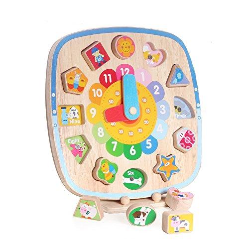 Boby Reloj Aprendizaje Reloj de Bebe Madera Aprender Horas Educativo Juguete Formas Bloques Infantil Puzzle