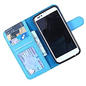 Dooda Genuine Leather Wallet Flip Case For Maxx GenxDroid7 - AX40 (SKY BLUE)