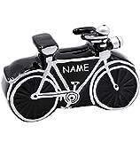 alles-meine.de GmbH Spardose -  Fahrrad / Bike - E-Bike  - incl. Name - 11 cm - stabile Sparbüchse aus Porzellan / Keramik - Sparschwein - für Kinder & Erwachsene / Fahrradtour..