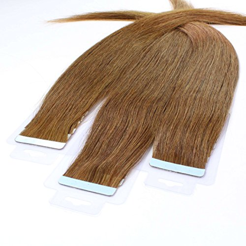 10 x 2.5g Tape In Extensions, 60cm - glatt - #8 Hellbraun - Haarverlängerung, Extensions zum Einkleben
