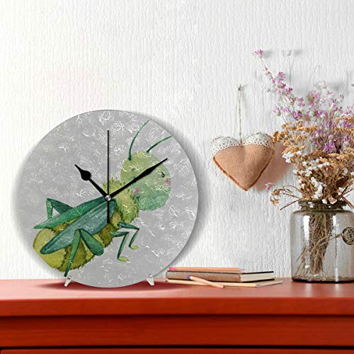 Plosds Wand Dekor Uhr Grasshopper Vivid Cartoon Muster Nicht tickt Runde Silent Diamond Display Wanduhren Malerei Dial Küche Schlafzimmer Dekor Wanduhr Wand Dekor (Uhr Grasshopper)