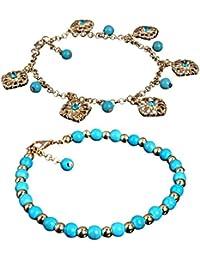Sanwood® Bohemian Damen Modisch Turquoise Perlen Legierung Strand Barfuß Fußkettchen Fußschmuck Fußkette Schmuck Geschenk