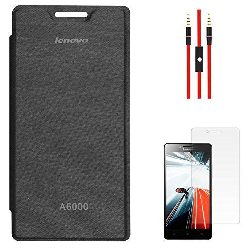 DMG Premium PU Leather Flip Cover Case for Lenovo A6000 (Black) + AUX Cable + Screen Guard