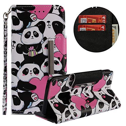 Brieftasche Hülle für Galaxy S9,Gürtel Lederhülle für Galaxy S9,Moiky Stilvoll Süß Panda Prägung Malerei Geprägt Stoßdämpfend Kratzfest Magnetverschluss Stand Kartenfächer Handyhülle - Geprägte Klappe