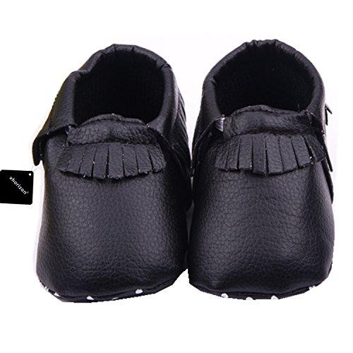 xhorizon TM FM8 Unisex Baby KindTassel weiche Sohle Kuh LederSchuhe Infant Jungen MädchenKleinkind (Camouflage Blau/9-12M/12.5cm) Schwarz
