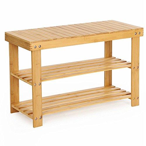 Scarpiera, panca per scarpiera in bambù a vita di legno, scarpiera in bambù con 3 ripiani, ideale per sala, bagno, soggiorno, corridoio (70x28x45cm)
