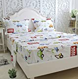 Brandream Kids Boys Cars Vehicles Bed Sheet Set Cotton Sheets Set 4pcs Twin Size