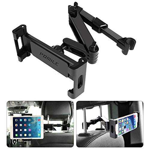 POMILE Tablet Halterung Auto Kopfstütze, Universal Ausziehbare KFZ Kopfstützen Halterung Unterstüzt Kompatibel mit 4,7-12,9 Zoll Handy Tablet (Ausziehbar)