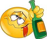 easydruck24de 1 Smiley-Aufkleber Drunk I kfz_254 I 12,5 x 9 cm groß I Emoji Sticker betrunken besoffen blau I Bar-Aufkleber Theke Tresen Küche Alkohol wetterfest