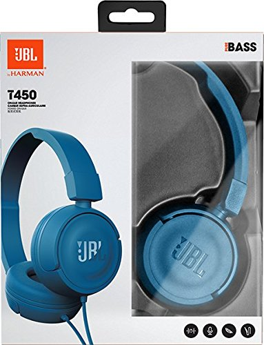 JBL T450 Extra Bass On-Ear Headphones with Mic (Blue) Image 7