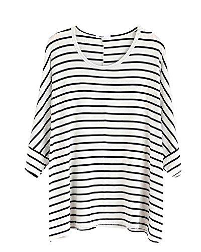 Donna Manica Lunga Il Collo Rotondo Top Striscia T-shirt Sciolto Bianco