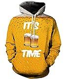 Rave on Friday Unisex Hoodies 3D Printed Bier Kapuzenpullover Pullover Langarmshirts Leichte Sweatshirts Mit Taschen M