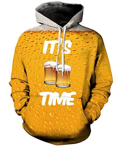 Rave on Friday Unisex Hoodies 3D Printed Bier Kapuzenpullover Pullover Langarmshirts Leichte Sweatshirts Mit Taschen M -