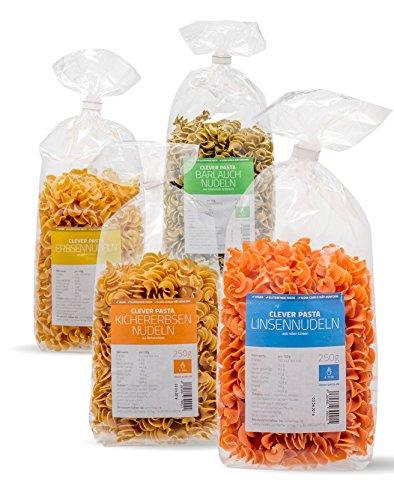 Clever Pasta Low-Carb-Kennenlern-Paket 4 Sorten: Linsen-, Erbsen-, Kichererbsennudeln natur Bärlauch-Geschmack