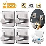 YOMYM Gancio adesivo impermeabile in acciaio Inox, Appendini Portasciugamani per cucina e bagno, Da 4 pezzi