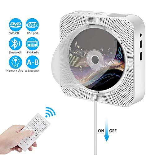 DVD CD-Player,VICELEC Bluetooth DVD CD Player mit Fernbedienung,Integrierte HiFi-Lautsprecher,Unterstützung USB/HDMI/MP3/FM/RCA (Silber) -
