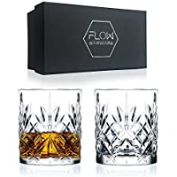Set Of 2 Crystal Whiskey Glasses, High Quality Cut Crystal Glassware By FLOW Barware Classic Crystal Glasses Perfect for Scotch, Bourbon Gin & Tonic, Cocktails and More