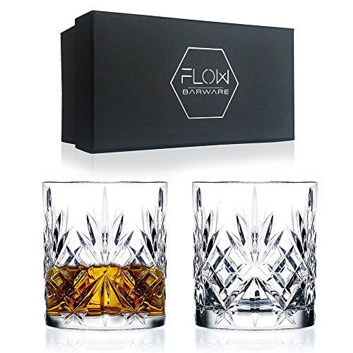 Set Of 2 Crystal Whiskey Glasses, High Quality Cut Crystal Glassware By FLOW Barware Classic Crystal Glasses Perfect for Scotch, Bourbon Gin & Tonic, Cocktails and More (Cut Whiskey Glas)
