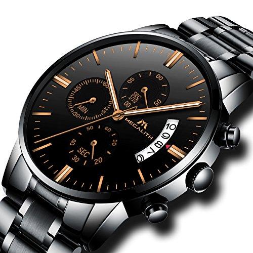 Relojes de Hombre Relojes Grandes de Pulsera Military Cronometro Impermeable Negro Acero Inoxidable Reloj para Hombres Calendario Cronógrafo Lujo Diseño de Oro Rosa Analógico