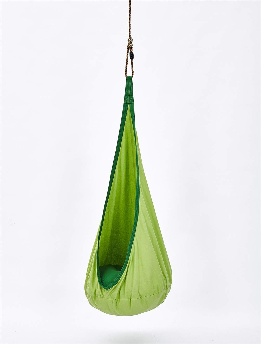 LMX-liv Kids Pod Swing Seat - Cotton Hanging Nest for Kids - Children Pod Hanging Chair for Nursery Or Children's Room - Hammock Pod Kids Swing - Portable Child Inflatable Cloth Bag Swing Tent,Green  INFANT CEILING CLOTH BAG - The material of the seat cushion 100% cotton and PVC inflatable cushion, pleasant skin feel, easy to clean, An inflatable and removable cushion with adjustable hardness, The color is bright and energetic. INDOOR AND OUTDOOR - It can be used in outdoor or indoor and can easily be hung from a branch, porch or ceiling, brightens the room or garden immediately. The offers hours of swinging and spinning fun. CHILD NEEDS - You can sit and read with your children, listen to music, or just relax. It helps your children to develop the skills of balance and body awareness. Perfect for children who acquire sensory needs. 2