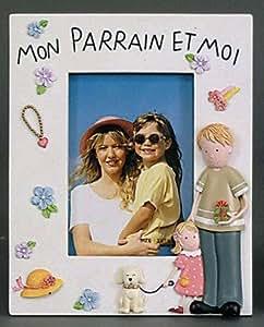 """Emde - Cadres photos - Cadre Photo Enfant Emde """"Mon Parrain et moi"""" Fille pour photo 10x15"""