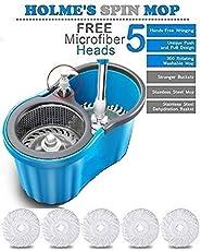 HOLME'S Easy Magic Floor Mop 360° Bucket Steel Mop with 5 Micro Fiber Head (Random Color)