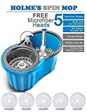 #5: HOLME'S Easy Magic Floor Mop 360° Bucket Steel Mop with 5 Micro Fiber Head (Random Color)