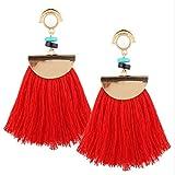 Mode Bohemian Ohrringe Frauen Lange Quasten Fringe Boho Ohrringe Schmuck Mode Quasten Ohrringe HKFV (Red)