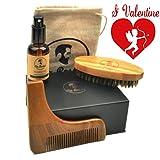 Kit barbe HAUTE QUALITÉ pour entretien barbe avec huile ORGANIQUE 100% NATURELLE sans parfum avec spray, brosse, peigne pochoir, sac de transport. Le tout dans un élégant coffret cadeau