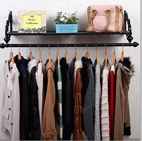 cdbl-iron Kleidung Regalen Retro Style Wandbild Kleiderbügel Coat Hat Racks Haken Home Schlafzimmer Art DEKORATION Kleidung Haken, metall, schwarz, 120 cm (Wall Coat Rack)