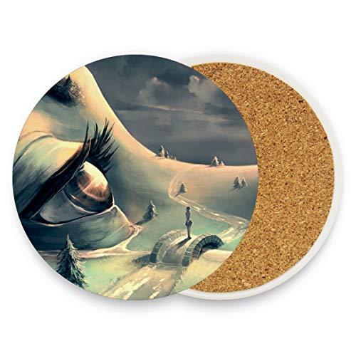 Abstrakte Mädchen (Abstrakte Mädchen Gesicht Augen Bridge Baum Runde saugfähige Keramik Stein Getränkeuntersetzer Kaffeetasse Matte Sets für Home Office Bar Küche (Set von 1), keramik, multi, 4er-Set)
