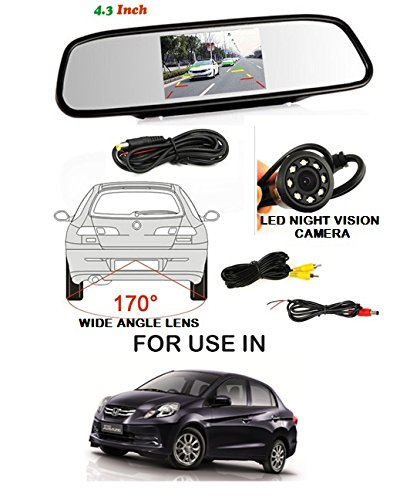 Volga Car Reversing kit- 4.3 Inch TFT LCD Rearview Mirror Monitor Backup Camera 4 Parking Sensors (WHITE) Alarm For Honda Amaze