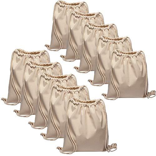 Baumwollbeutel 10 Stück 38x42cm Natur Sportbeutel - Rucksack Stofftasche Turnbeutel Bag, Beutel, Baumwollbeutel, Jutebeutel OEKO-TEX® zertifiziert Stoffbeutel Einkaufsbeutel Gym Sac Sack zum bemalen