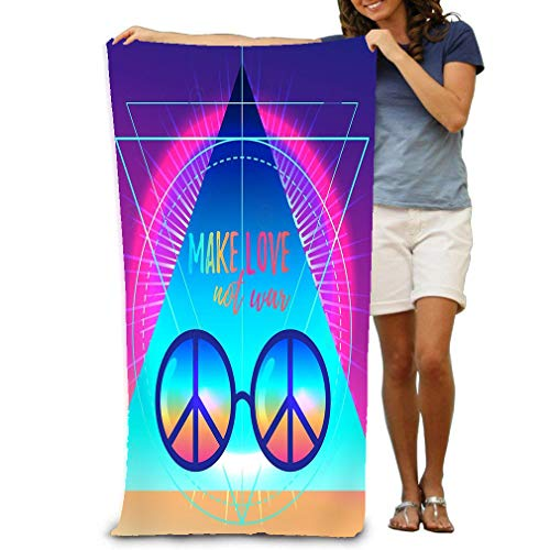 zexuandiy Adult Soft Microfiber Printed Beach Towel Swimming,surf,Gym,Spa 80cmx130cm/ 31x51 in Make Love not war Rainbow Hippie Sign v Make Love not war Rainbow Hippie Sun Glasses Peace