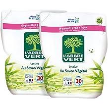 L'arbre Vert Pack de 2 Recharges Lessive Liquide Savon Végétal 2 L
