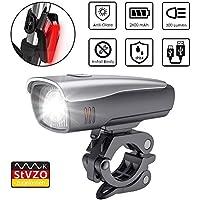 Zknen® LED Fahrradlichter Set, 2600mAh Zugelassen USB Wiederaufladbare LED Fahrradlicht Set, LED Fahrradbeleuchtung Set inkl Frontlicht und Rücklicht, Wasserdichte Fahrradlampe Set (grey)