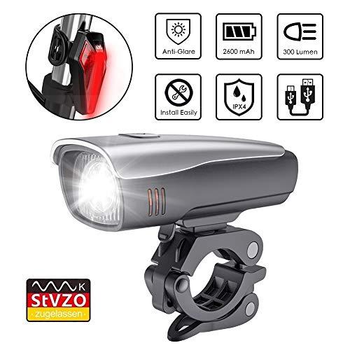 zknen® LED Fahrradlichter Set, 2600mAh Zugelassen USB Wiederaufladbare LED Fahrradlicht Set, LED Fahrradbeleuchtung Set inkl Frontlicht und Rücklicht, Wasserdichte Fahrradlampe Set