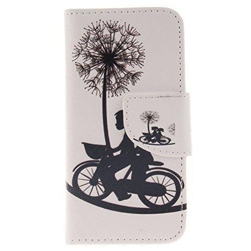 Anlike für iPhone 5 5S 5G / iPhone SE Hülle / Handyhülle / Schutzhülle / Ledertasche / Tasche / Case / Cover / Flip Brieftasche / Bookstyle mit Standfunktion Kredit Karteneinschub und Magnetverschluß - Liebhaber Fahrrad