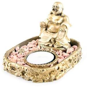Décos Du Monde - Brûleur d'encens Bouddha crème et or