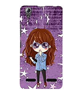 99Sublimation Cute Girl with Specs 3D Hard Polycarbonate Back Case Cover for Lenovo A6000 Plus