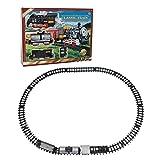 Bloomma Train Set, Tren eléctrico simulado Retro Trenes Classic Track Series Model Set Cars con luz y música para niños Regalo