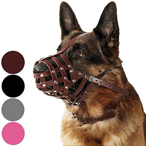 CollarDirect Maulkorb für Hunde Deutscher Schäferhund Dalmatiner Rottweiler, Setter Leder Korb Medium Große Rassen Schwarz Braun, L, Chestnut Brown -