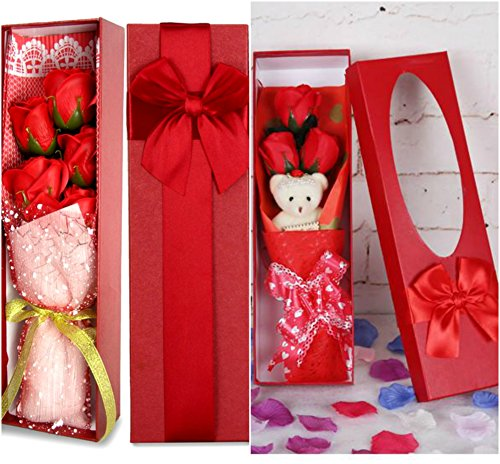 Combo Of Romantic Red Flower Bouquet Scented Roses Gift Box With Cute...
